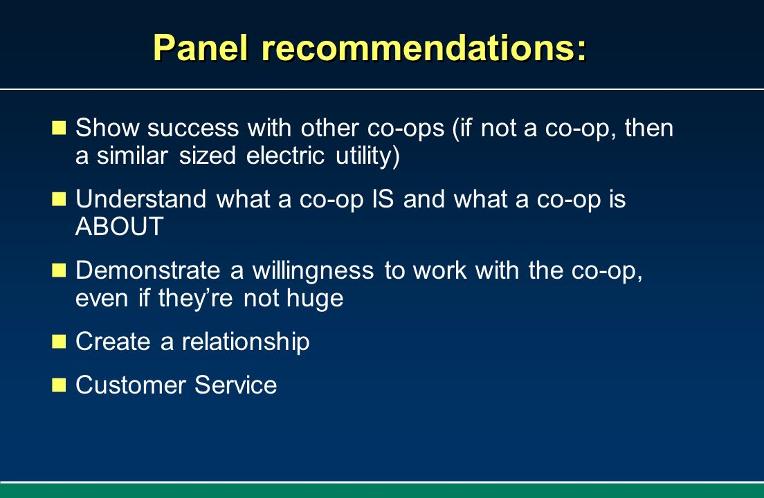 Panel recommendations: