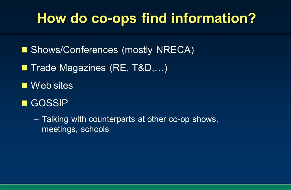 How do co-ops find information