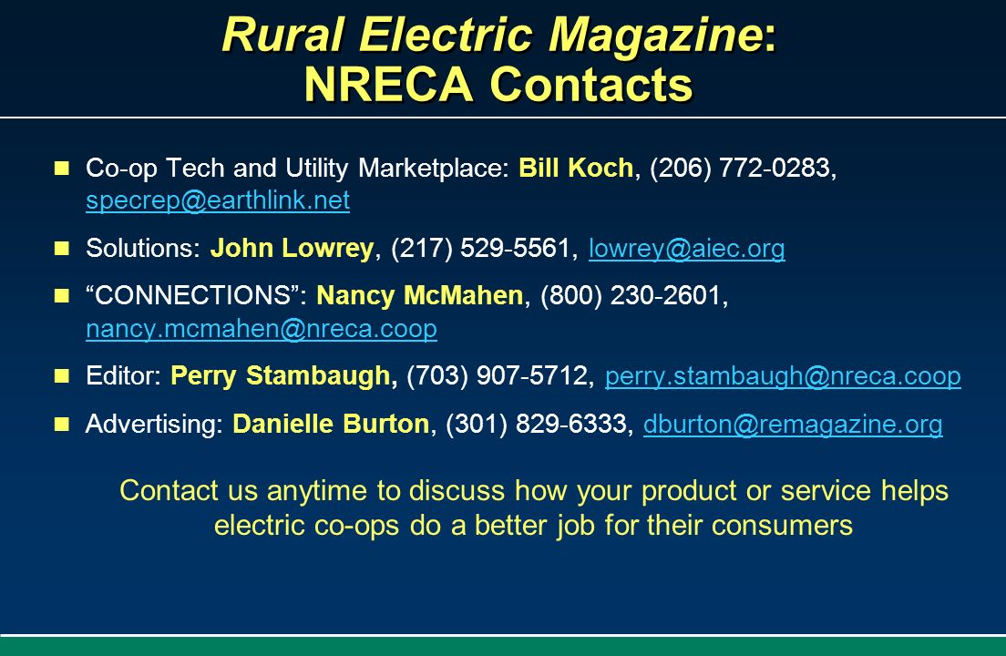 Rural Electric Magazine: NRECA Contacts
