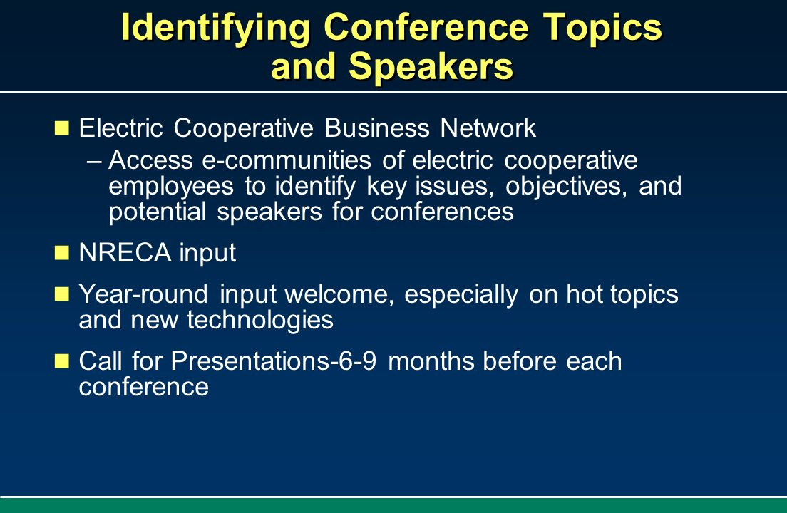 Identifying Conference Topics and Speakers