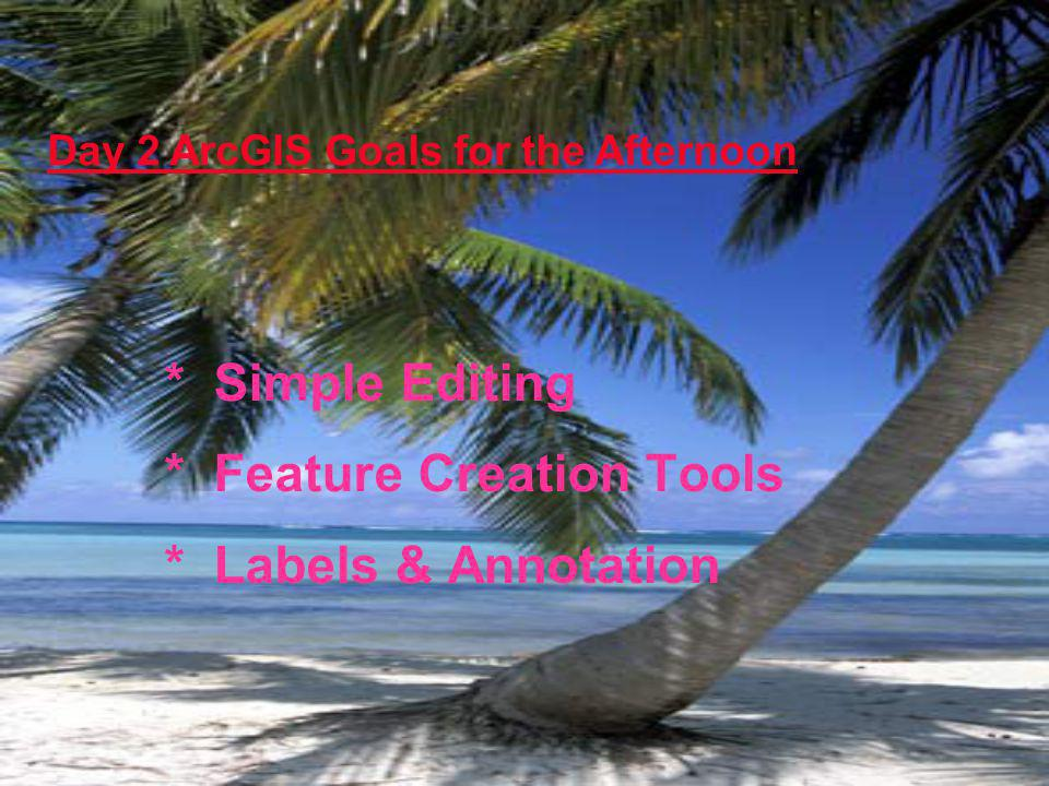 * Simple Editing * Feature Creation Tools * Labels & Annotation