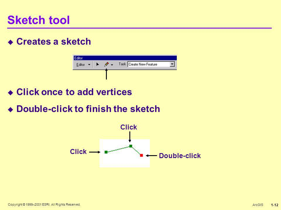 Sketch tool Creates a sketch Click once to add vertices