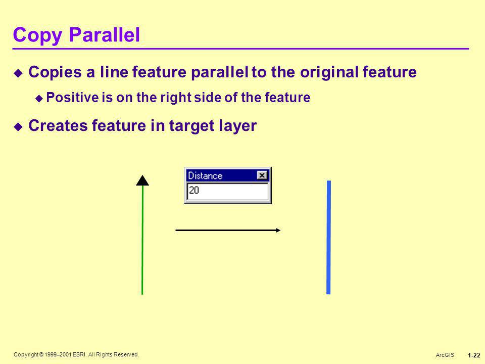 Copy Parallel Copies a line feature parallel to the original feature