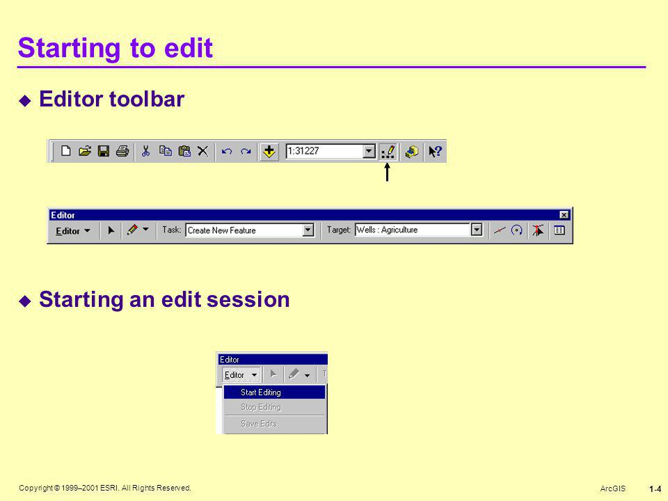 Starting to edit Editor toolbar Starting an edit session