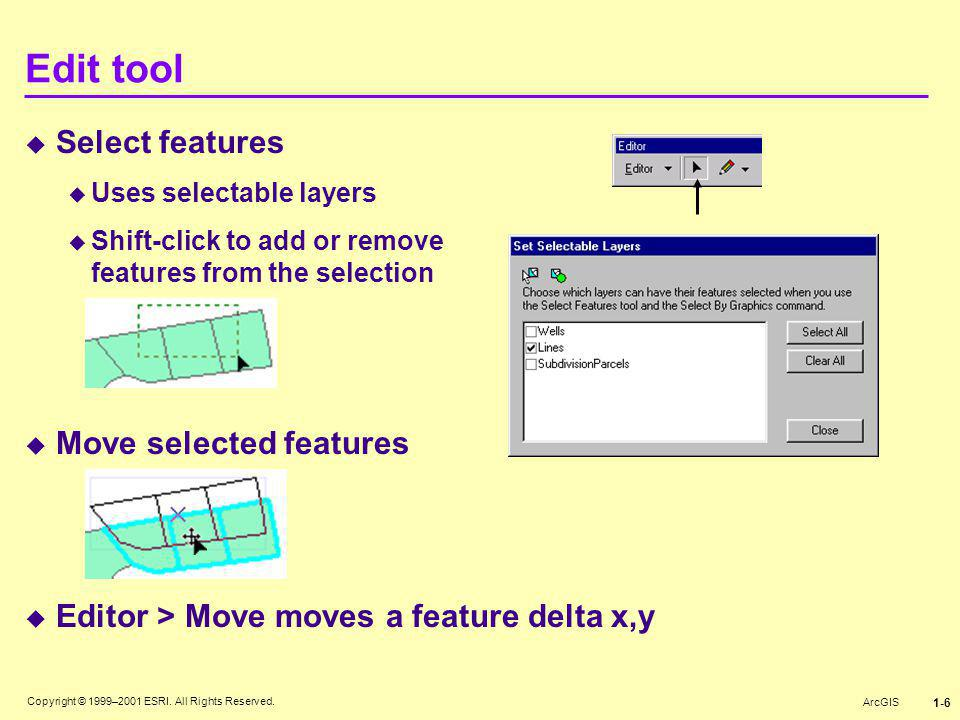 Edit tool Select features Move selected features