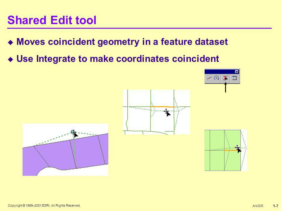Shared Edit tool Moves coincident geometry in a feature dataset