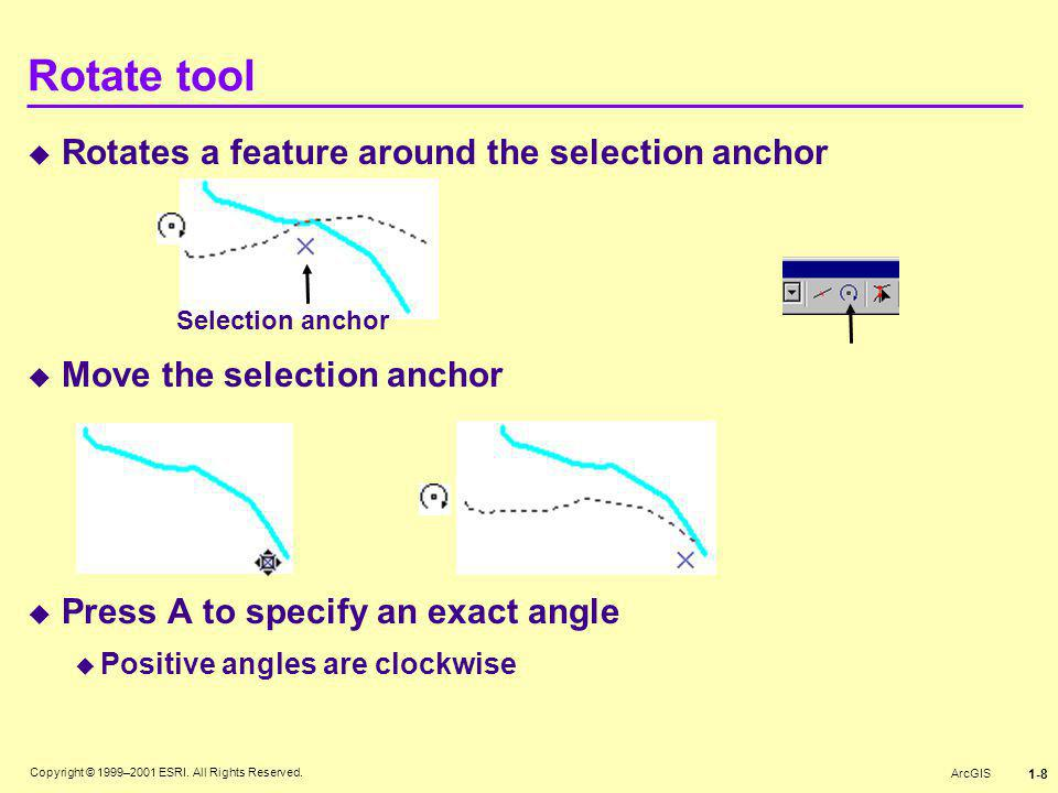 Rotate tool Rotates a feature around the selection anchor