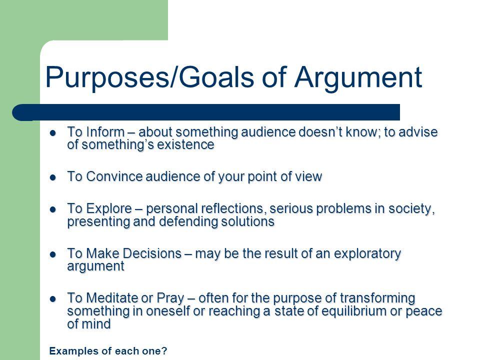 Purposes/Goals of Argument