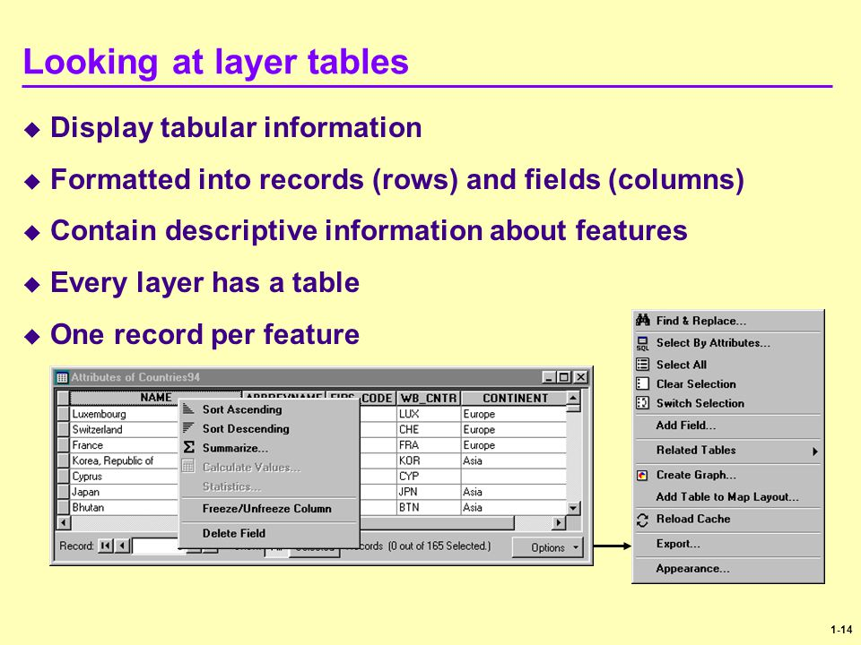 Looking at layer tables