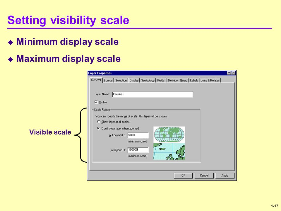 Setting visibility scale