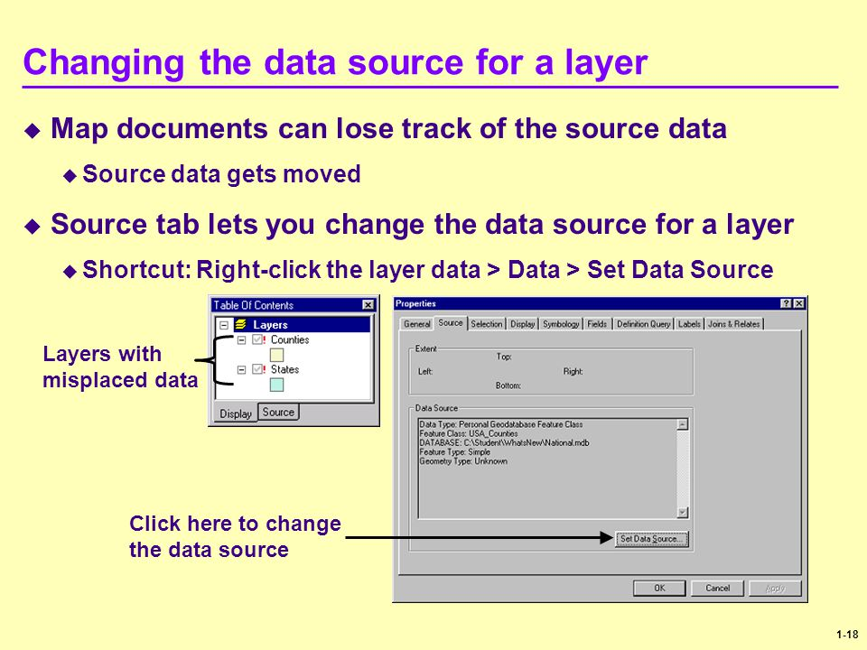 Changing the data source for a layer