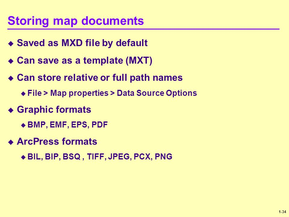 Storing map documents Saved as MXD file by default