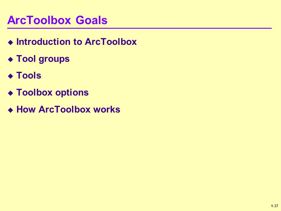 ArcToolbox Goals Introduction to ArcToolbox Tool groups Tools
