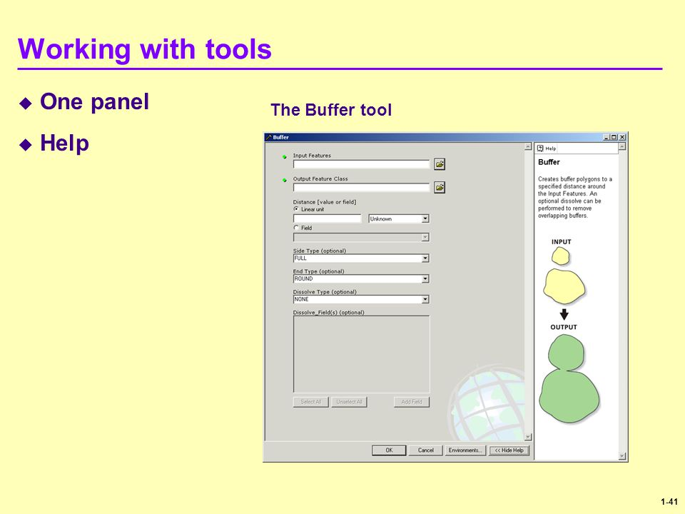 Working with tools One panel Help The Buffer tool