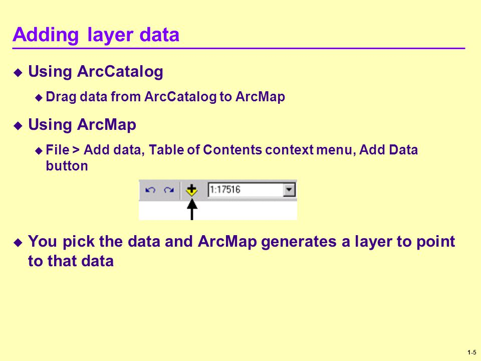 Adding layer data Using ArcCatalog Using ArcMap