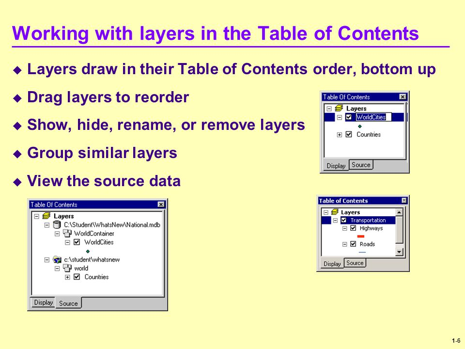 Working with layers in the Table of Contents