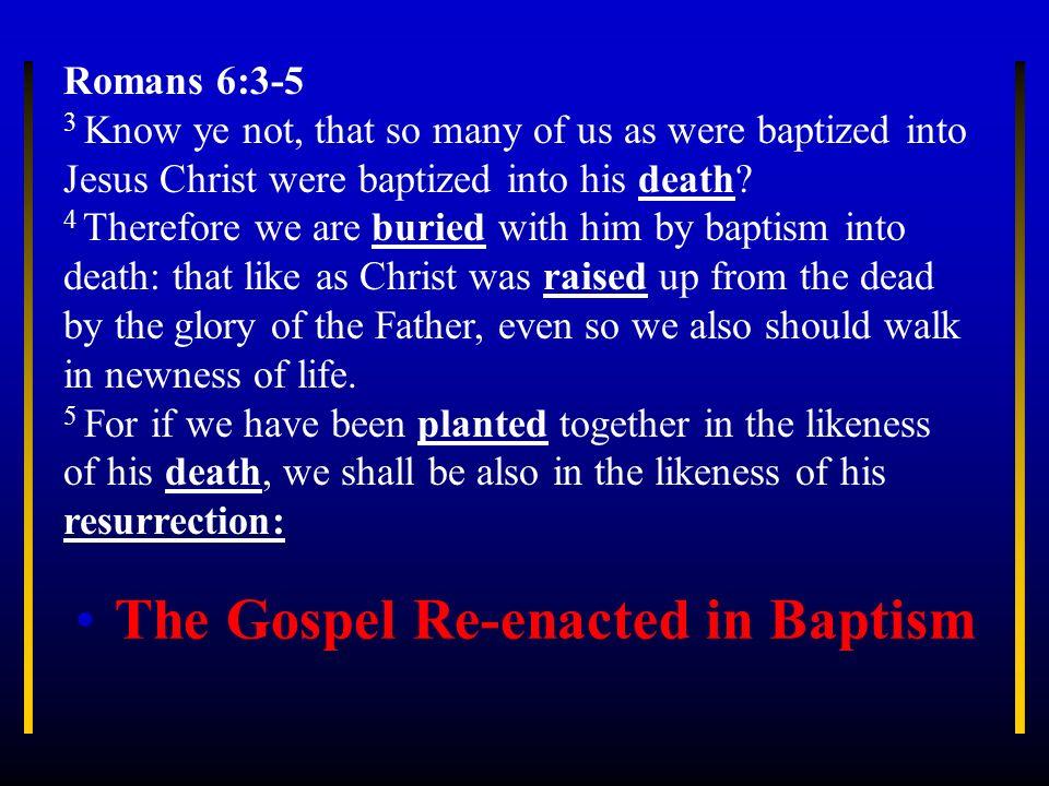 The Gospel Re-enacted in Baptism