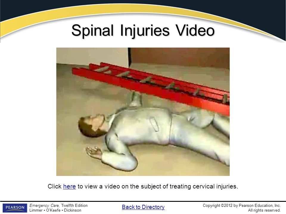 Spinal Injuries Video Video Clip. Spinal Injuries. What signs and symptoms might you see in a patient with a cervical injury