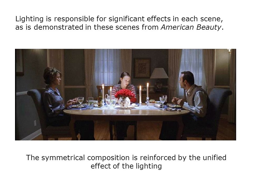 Lighting is responsible for significant effects in each scene, as is demonstrated in these scenes from American Beauty.