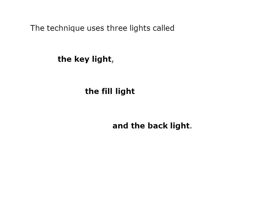 The technique uses three lights called