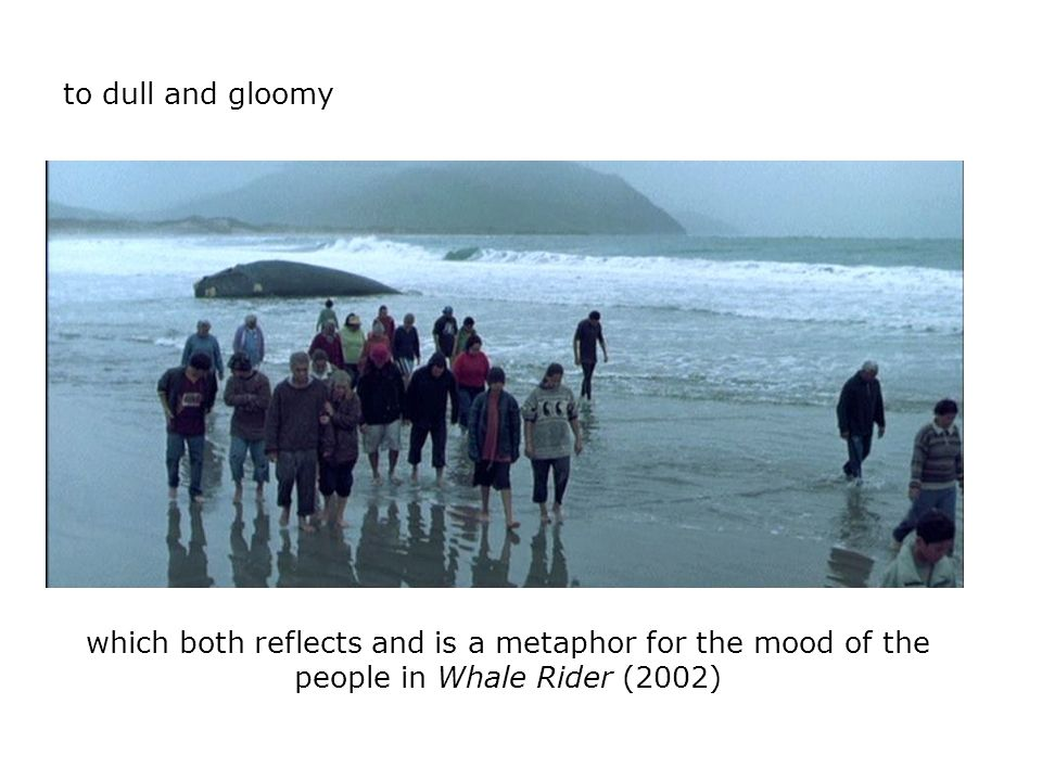 to dull and gloomy which both reflects and is a metaphor for the mood of the people in Whale Rider (2002)