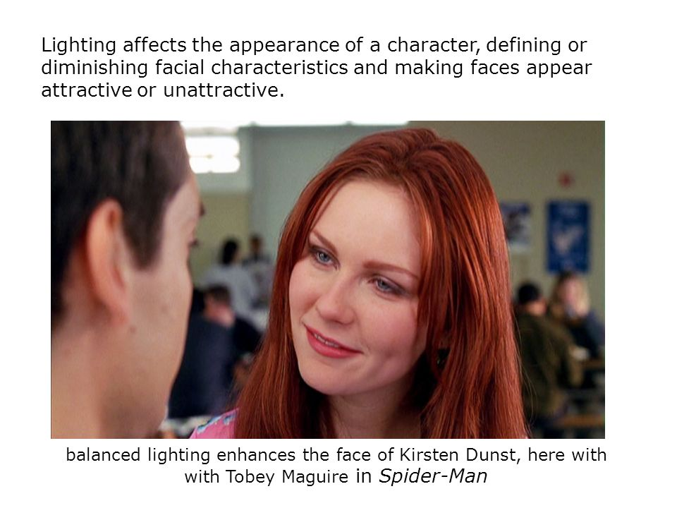 Lighting affects the appearance of a character, defining or diminishing facial characteristics and making faces appear attractive or unattractive.