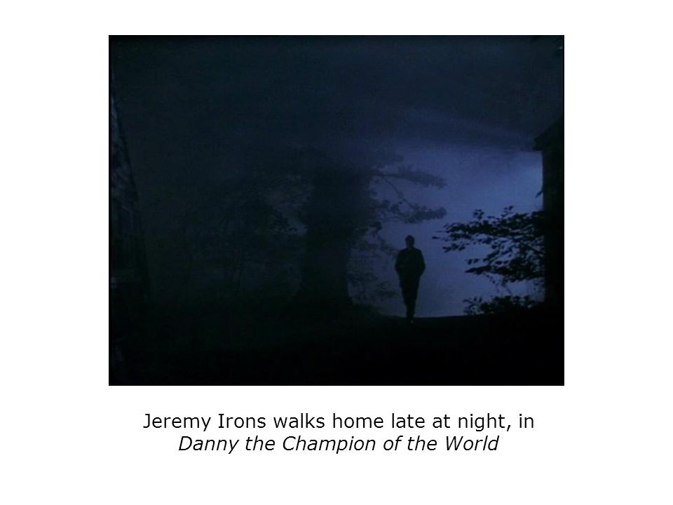 Jeremy Irons walks home late at night, in Danny the Champion of the World