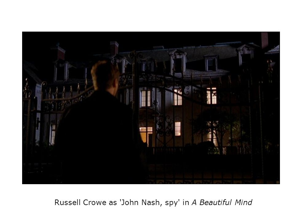 Russell Crowe as John Nash, spy in A Beautiful Mind