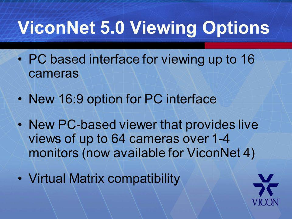 ViconNet 5.0 Viewing Options