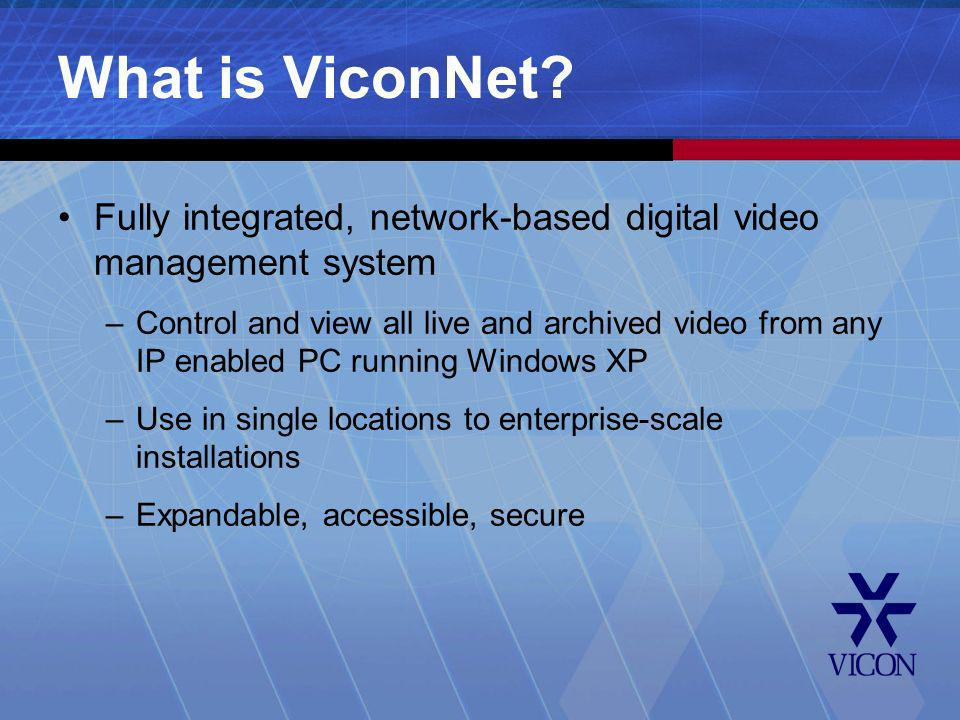 What is ViconNet Fully integrated, network-based digital video management system.