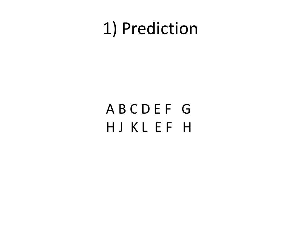 1) Prediction A B C D E F G H J K L E F H