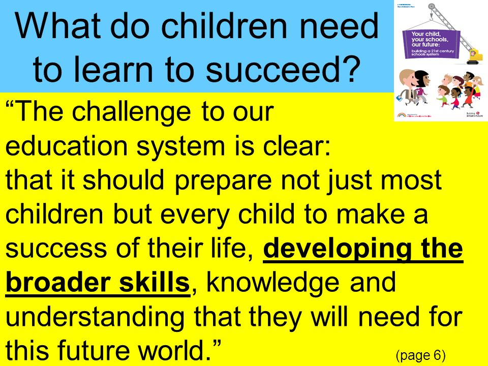 What do children need to learn to succeed