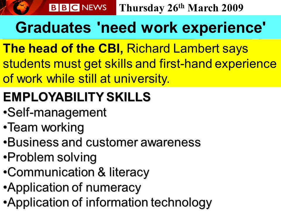 Graduates need work experience