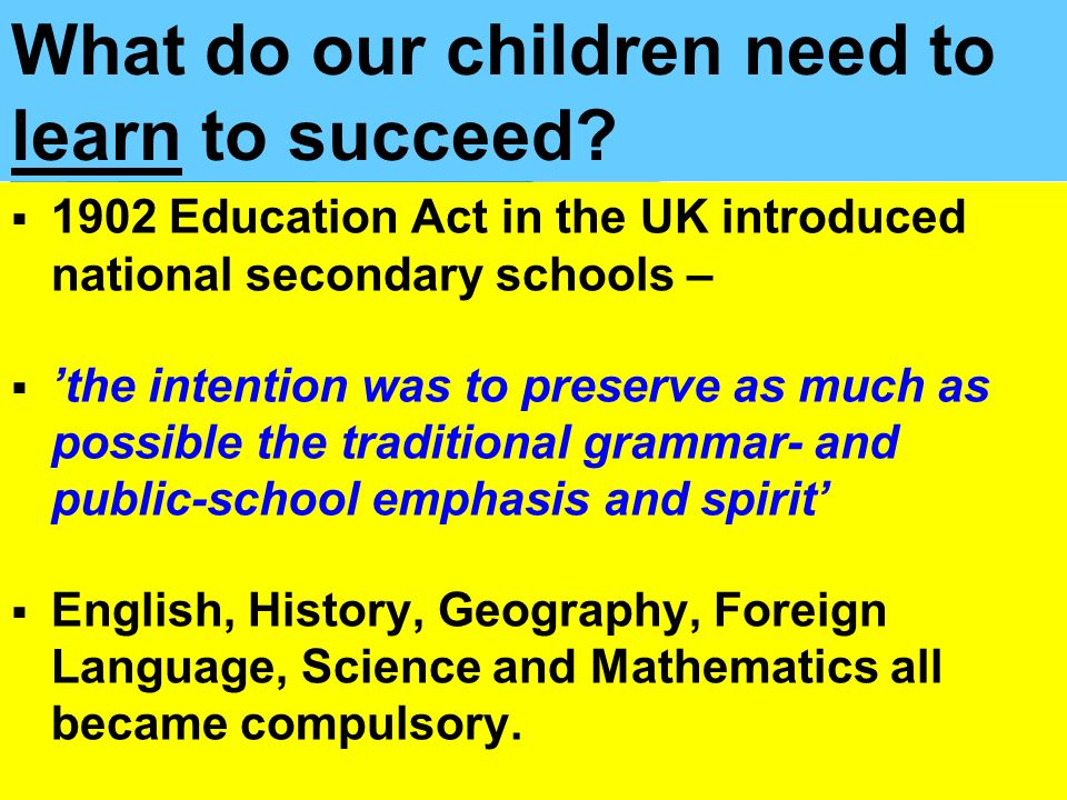What do our children need to learn to succeed