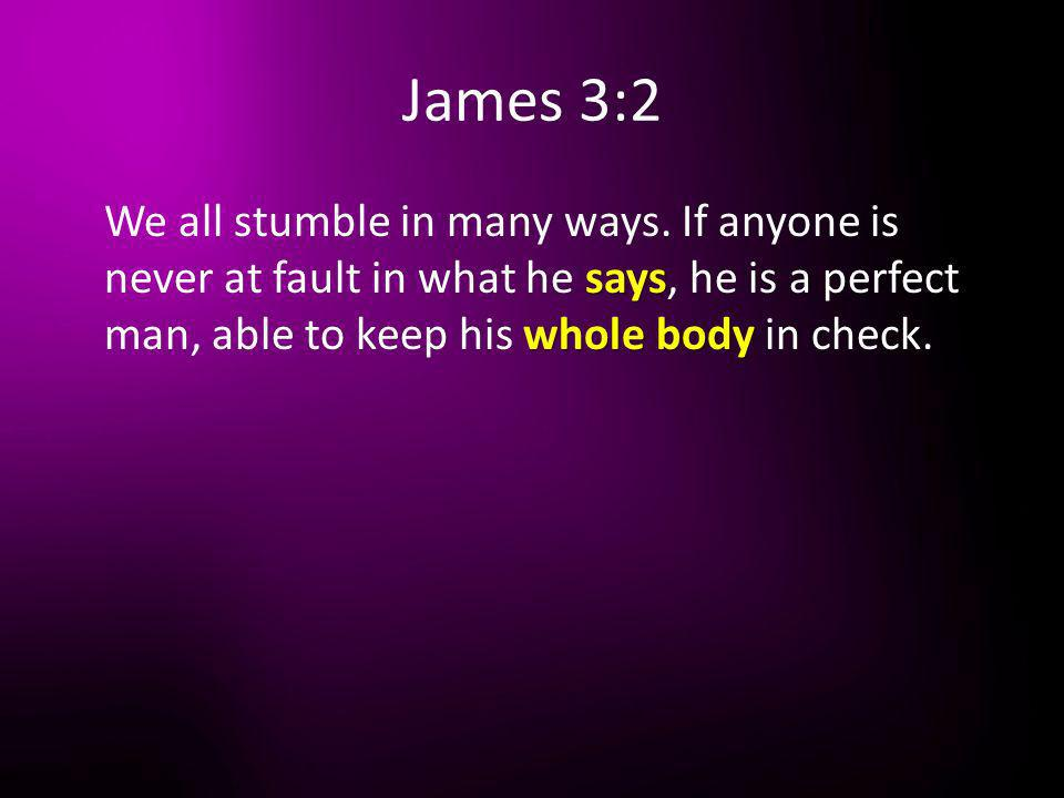 James 3:2 We all stumble in many ways.