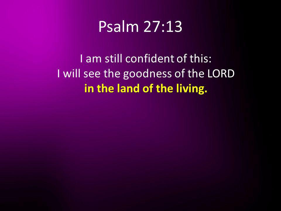 Psalm 27:13 I am still confident of this: I will see the goodness of the LORD in the land of the living.