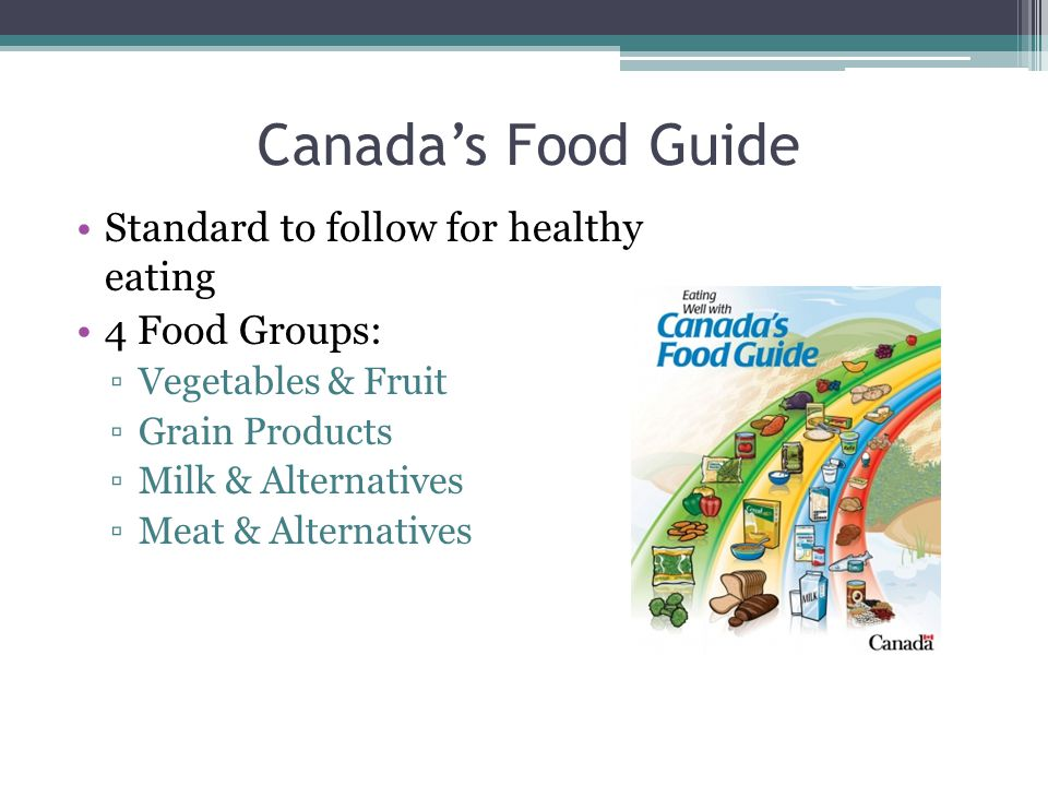 Canada's Food Guide Standard to follow for healthy eating