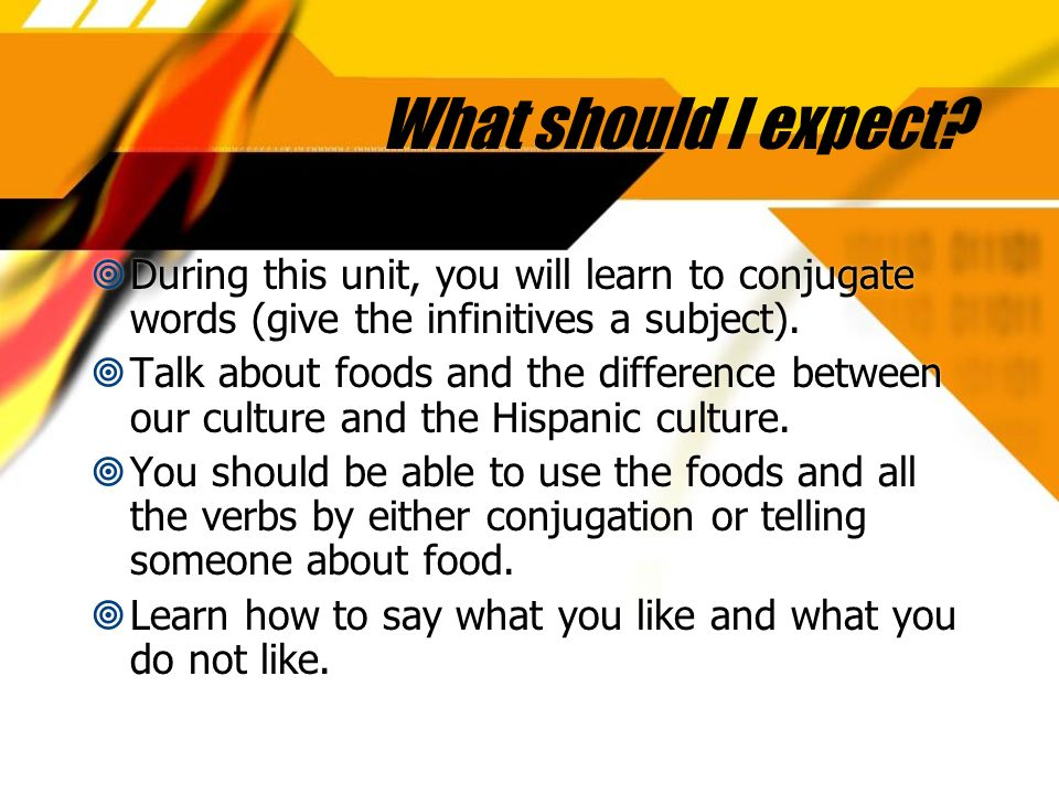 What should I expect During this unit, you will learn to conjugate words (give the infinitives a subject).