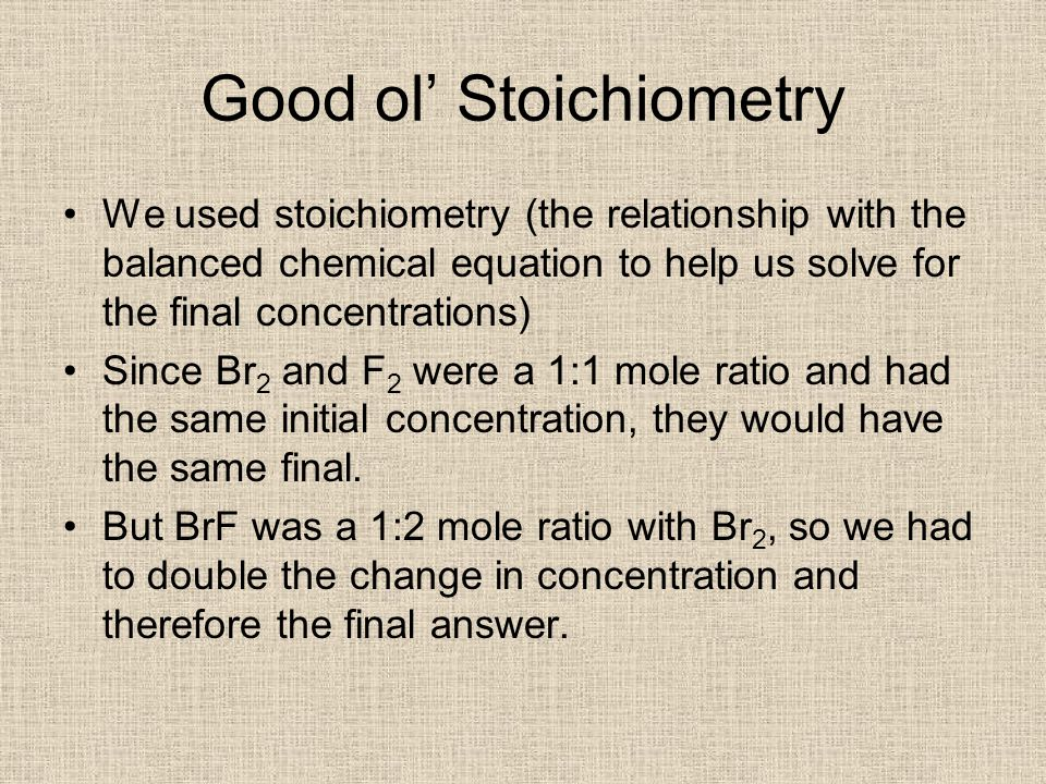 Good ol' Stoichiometry