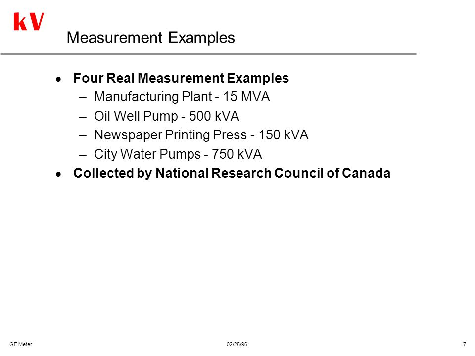 Measurement Examples Four Real Measurement Examples