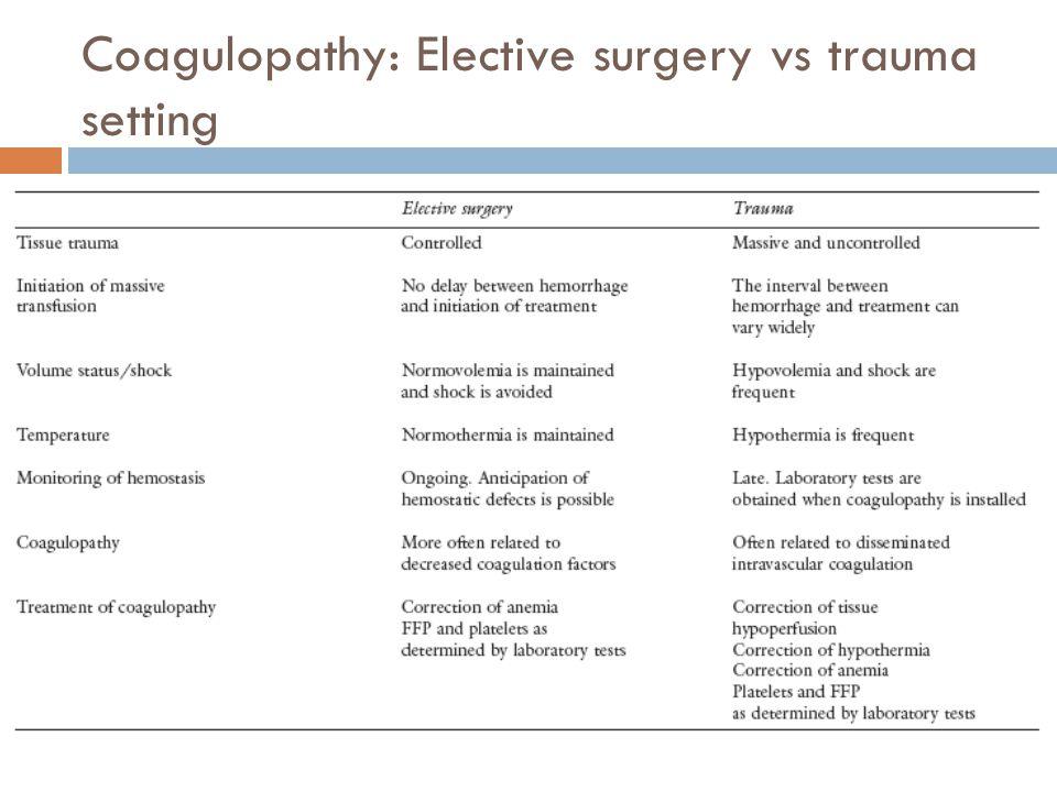 Coagulopathy: Elective surgery vs trauma setting