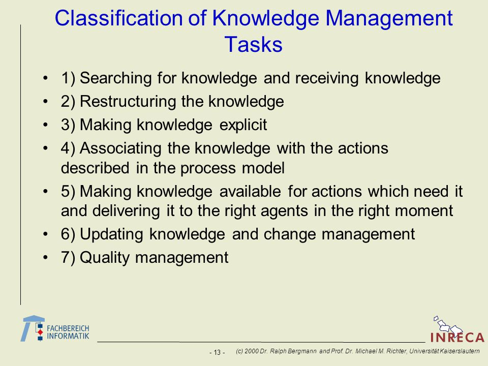 Classification of Knowledge Management Tasks