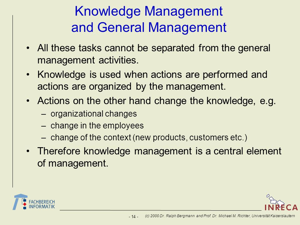 Knowledge Management and General Management
