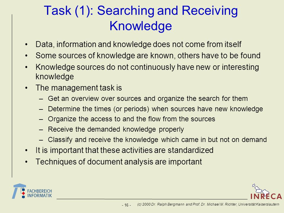 Task (1): Searching and Receiving Knowledge