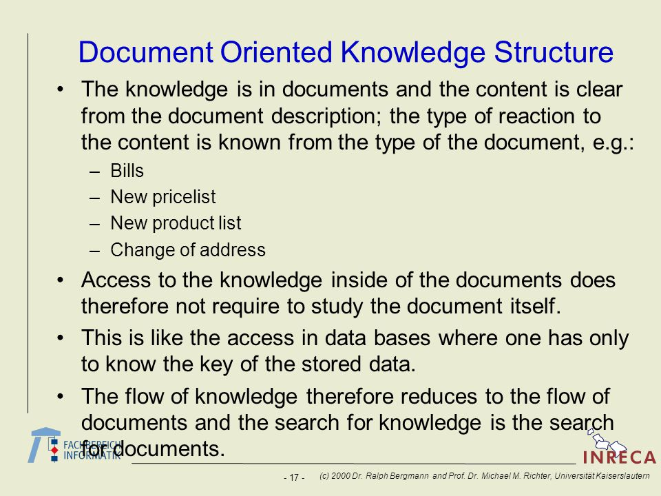 Document Oriented Knowledge Structure
