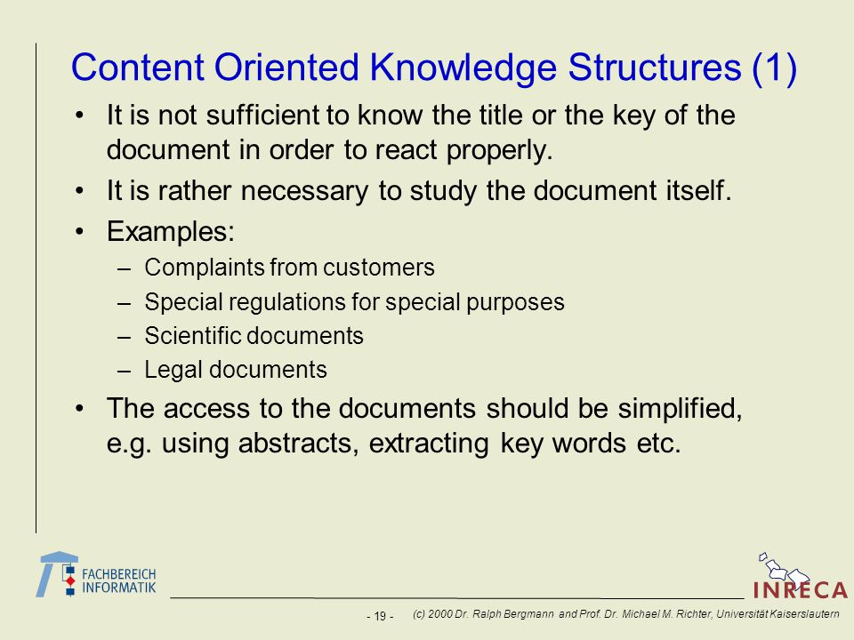 Content Oriented Knowledge Structures (1)