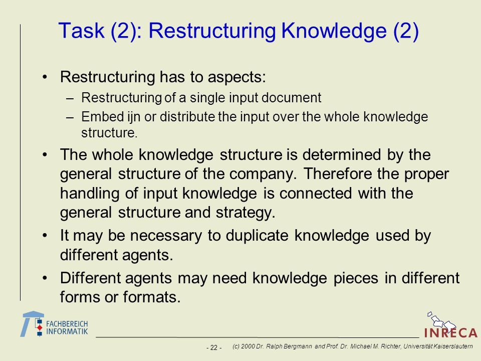 Task (2): Restructuring Knowledge (2)