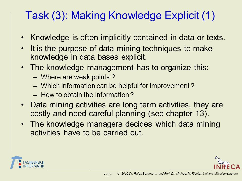 Task (3): Making Knowledge Explicit (1)