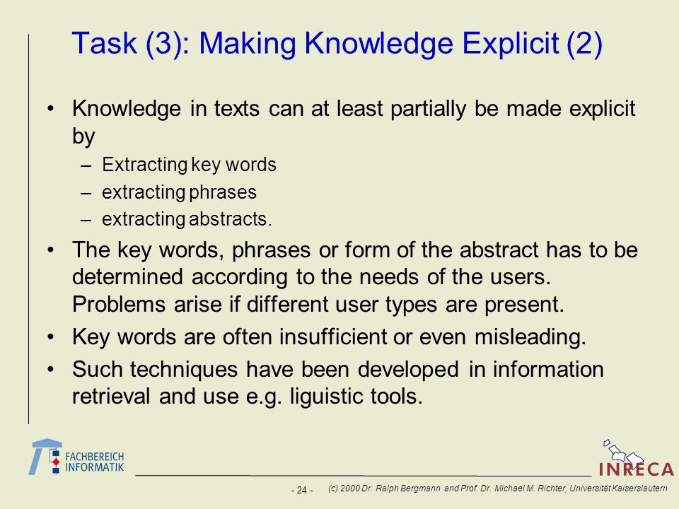 Task (3): Making Knowledge Explicit (2)