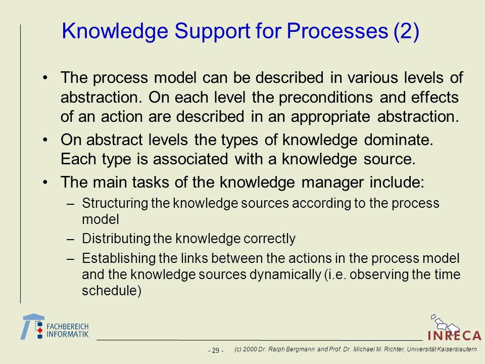 Knowledge Support for Processes (2)
